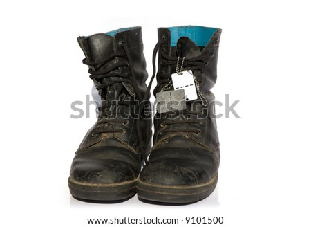 army boots with name tag