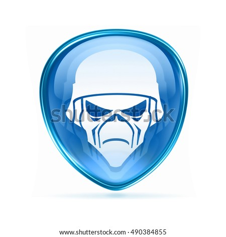 Army button blue, isolated on white background