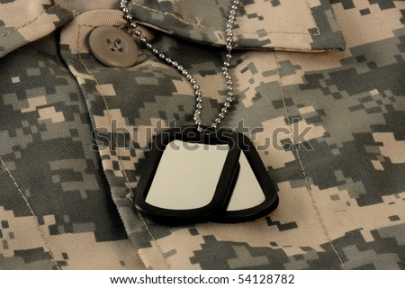 army digital fatigue shirt camouflage and name dog tag chain universal military camuoflage fabric - stock photo