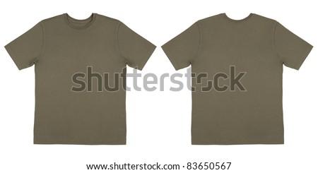 Army Drab Green Knit T Shirt Off Body Flat - stock photo