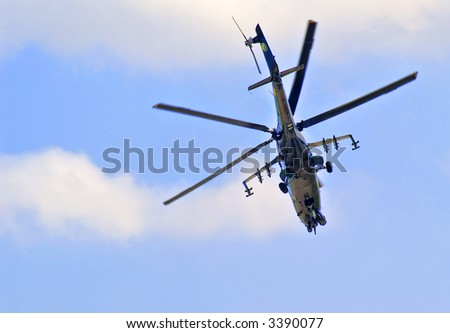 army helicopter patrolling - stock photo
