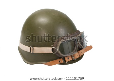 army helmet with goggles isolated on a white - stock photo