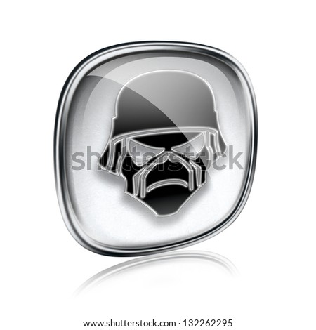Army icon grey glass, isolated on white background