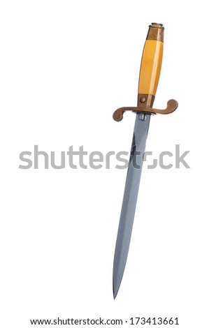 Army knife on white background close up