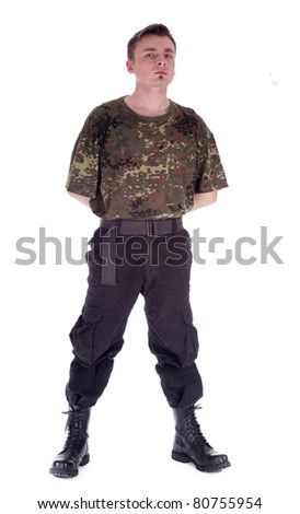 army man in camouflage shirt - stock photo