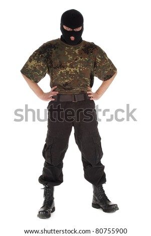 army man in camouflage shirt and balaclava