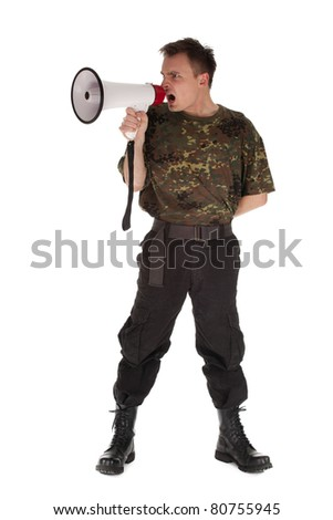 army man in camouflage shirt with megaphone