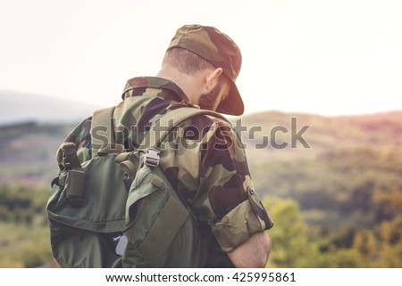 Army man in mountain