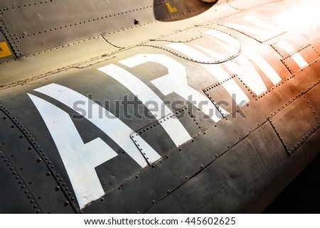 Army marking on the side of helicopter close-up - stock photo