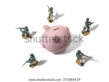 Army Men Protecting Piggy Bank - stock photo