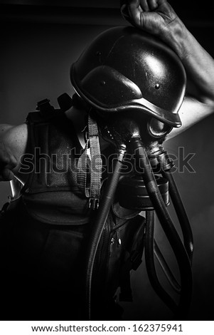 Army, nuclear disaster, man with gas mask, protection - stock photo