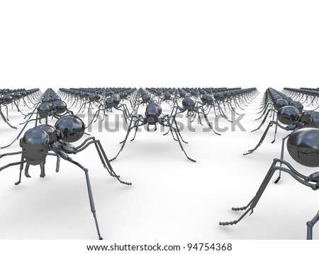 Army of insects, ants, in a lines on the floor, on white isolated background