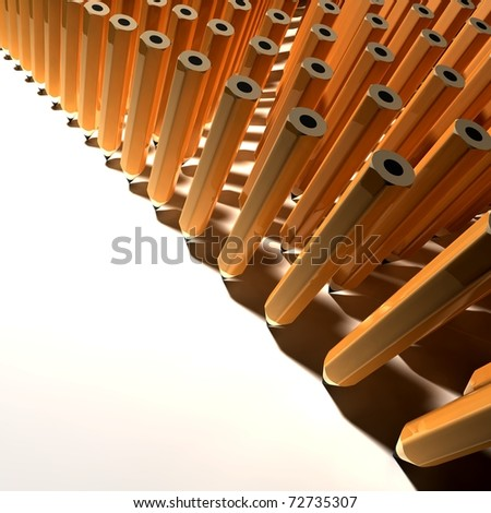 Army of Pencils on table - stock photo