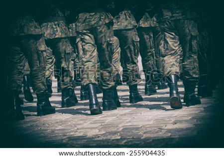 Army parade - boots close-up - stock photo