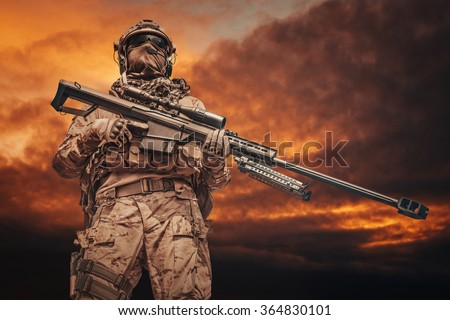 Army ranger sniper - stock photo