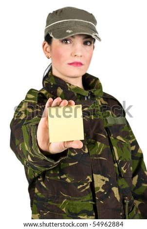 Army soldier female holding a blank yellow note