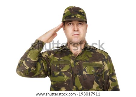 army soldier saluting isolated on white background