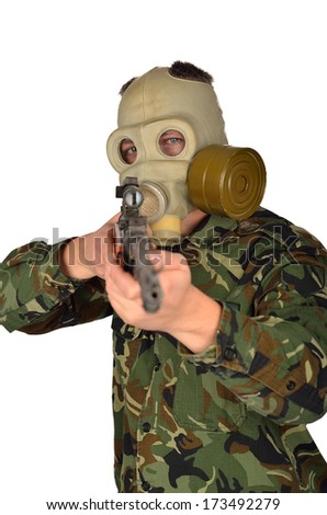 Army Soldier with Old school Gas Mask and Sniper Rifle - stock photo