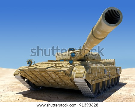 Army tank in desert, 3d image. - stock photo