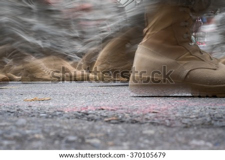 Army Troops marching blur - stock photo