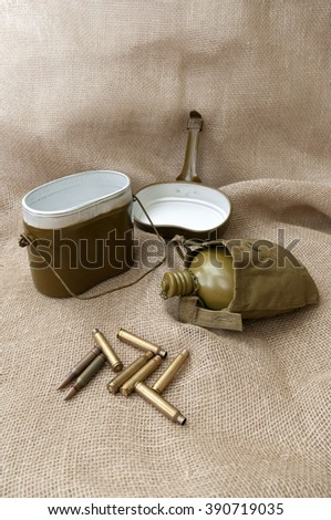 Army water bottle and cartridges on the background fabric.