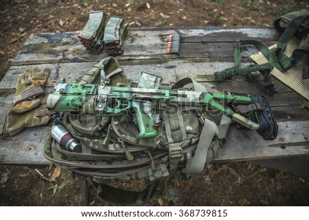 Army weapons at the shooting range - stock photo
