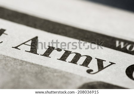 Army. Written Army on real newspaper with shallow dof.  - stock photo