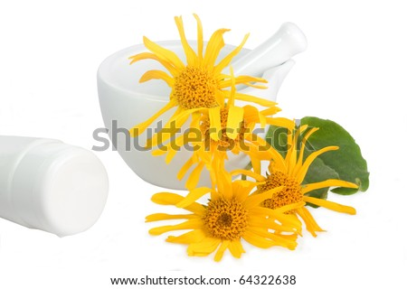 Arnica blossoms with mortar and cream tube over white - stock photo