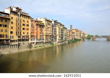 Arno River and waterfront buildings, Florence, Italy