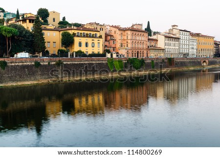 Arno River Embankment in the Early Morning Light, Florence, Italy