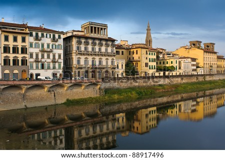 Arno river in Florence (Firenze), Tuscany - stock photo