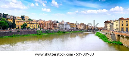 Arno river in Florence (Firenze), Tuscany, Italy.Panorama - stock photo