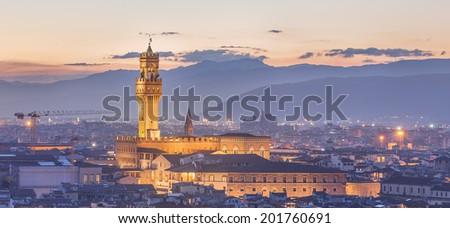 Arno River, Ponte Vecchio, Vecchio Palace at sunset Florence - stock photo