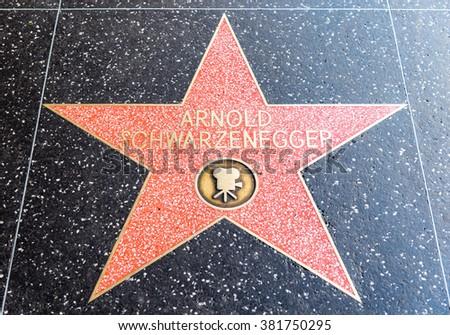 arnold schwarzenegger's star on hollywood's walk of fame, Los Angeles, 11 February 2016 - stock photo
