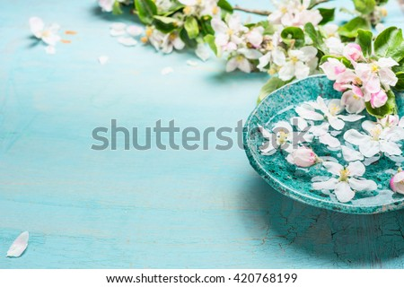 Aroma bowl with water and white blossom flowers on Turquoise blue  shabby chic wooden background. Wellness and spa concept. Spring blossom background - stock photo