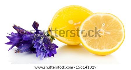 Aroma candle and lemon isolated on white - stock photo
