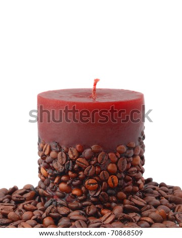 aroma candle decorated with coffee beans isolated on white - stock photo
