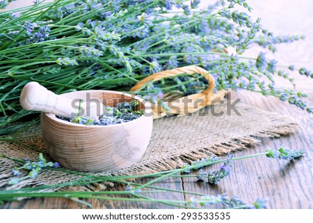 Aroma lavender spa set on wooden  table  - stock photo