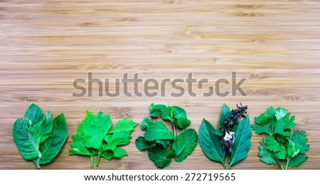 Aroma leaves of Thai traditional herbs (from left: Holy basil, Celery, balm mint, Thai basil, Coriander - stock photo