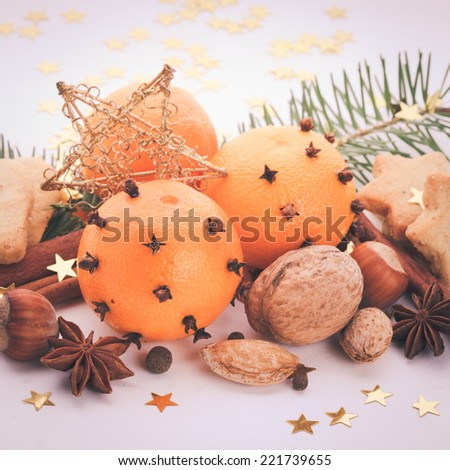 Aroma of Christmas - fir, tangerins and spices. Christmas cookies vintage styled - stock photo