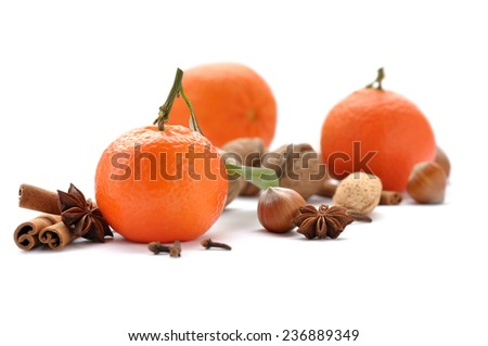 Aroma of Christmas - mandarins and spices. - stock photo