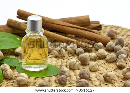 Aroma oil with herb - stock photo