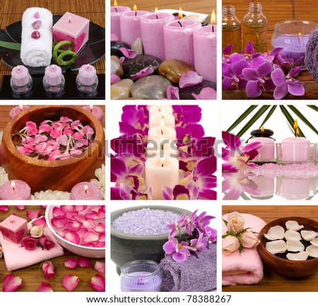 Aromatherapy and spa collage - stock photo