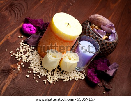 Aromatherapy - bath salt and candles
