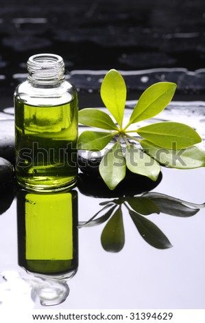 Aromatherapy bottle of essential aroma liquid and leaf - stock photo
