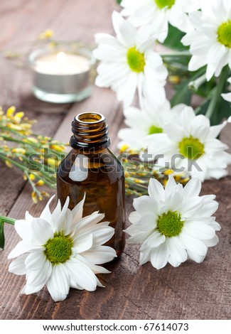 aromatherapy concept with bottle and flowers