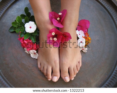 Aromatherapy Foot Bath. - stock photo