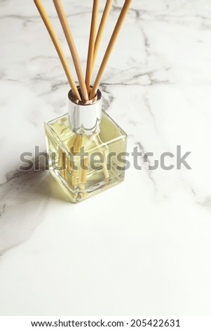 Aromatherapy reed diffuser air freshener with space for text below - stock photo