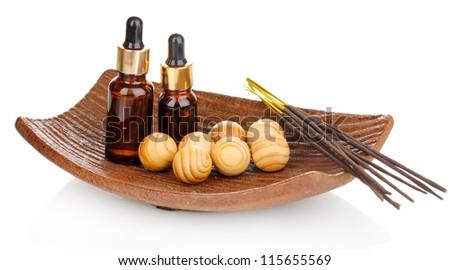 aromatherapy setting isolated on white - stock photo