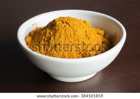 Aromatherapy spa herbs, elements and ingredients. Turmeric powder. (set photo) - stock photo